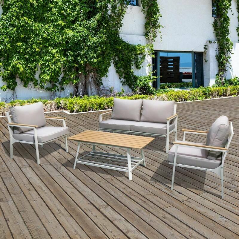 Harrier Alu Corner Sofa Set [4 Seat] - White | Net World Sports