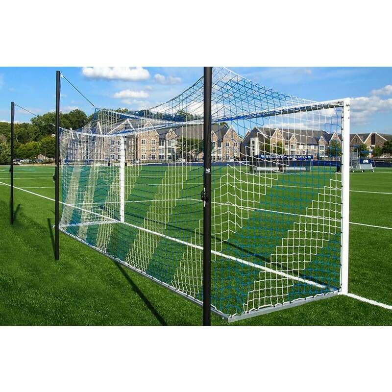 Blue & White Striped Soccer Goal Nets