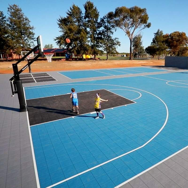 Modular Basketball Court Tiles With Optional Floor Cushioning