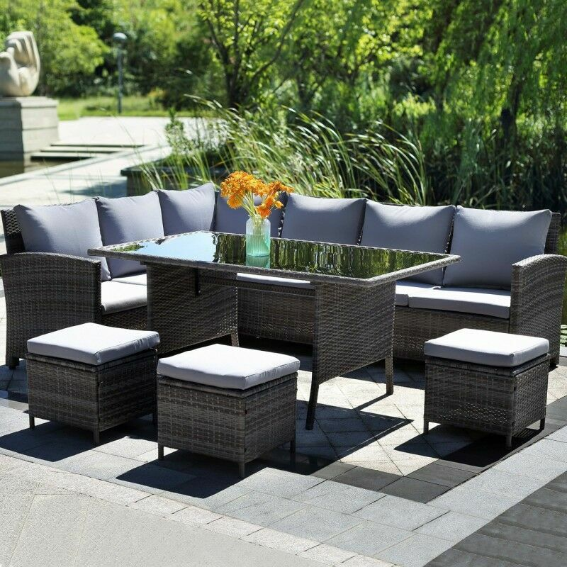 Harrier Rattan Corner Sofa & Dining Table | Net World Sports