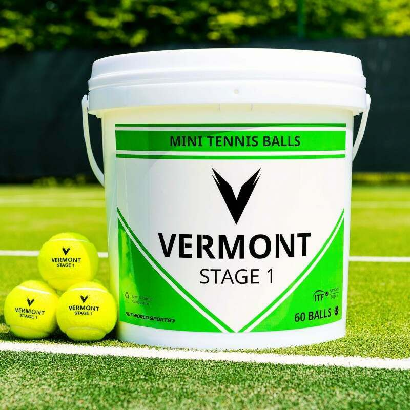 Vermont Stage 1 Tennis Balls Bucket On Court | Net World Sports