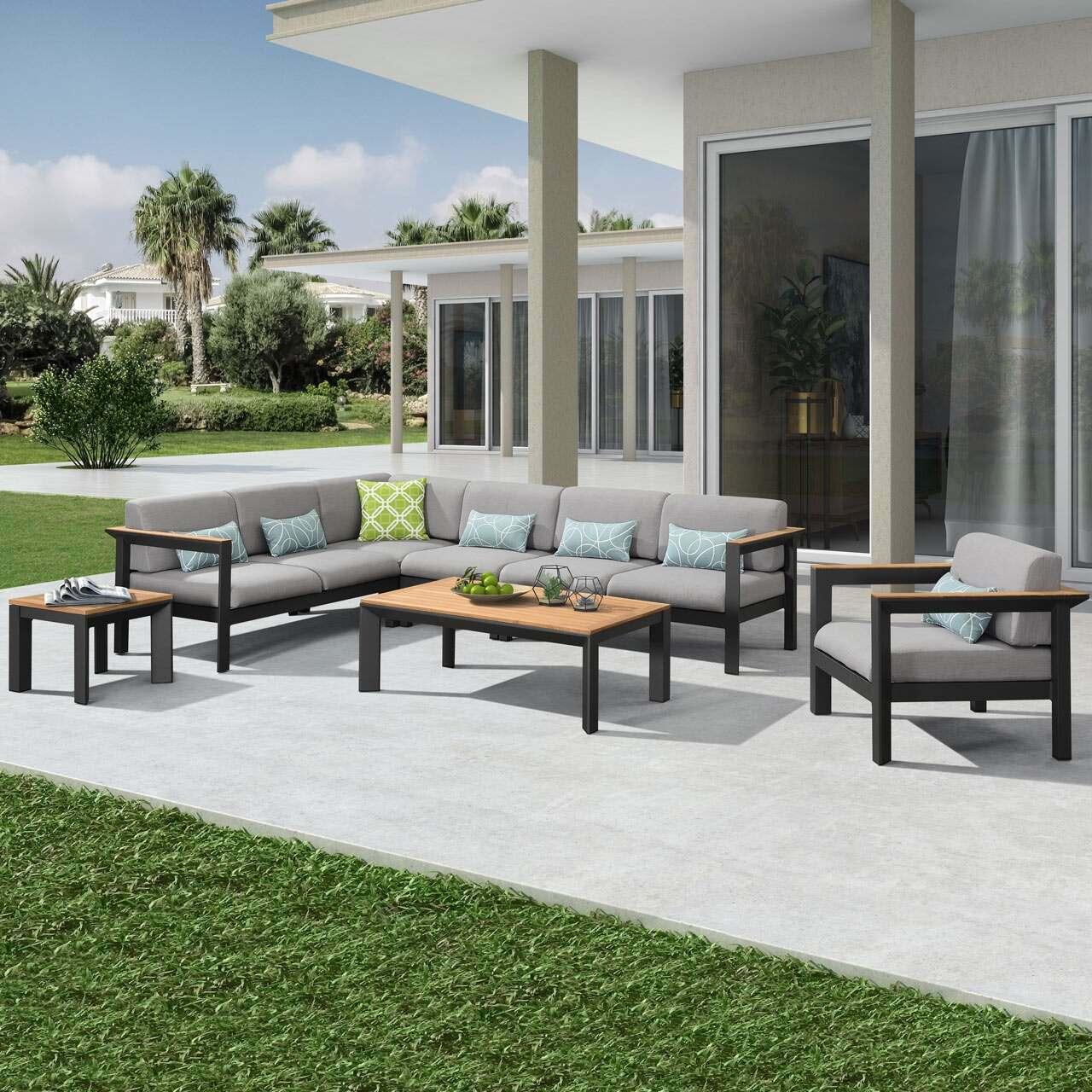 Harrier Luxury Aluminium/Teak Garden Corner Sofa & Table Sets