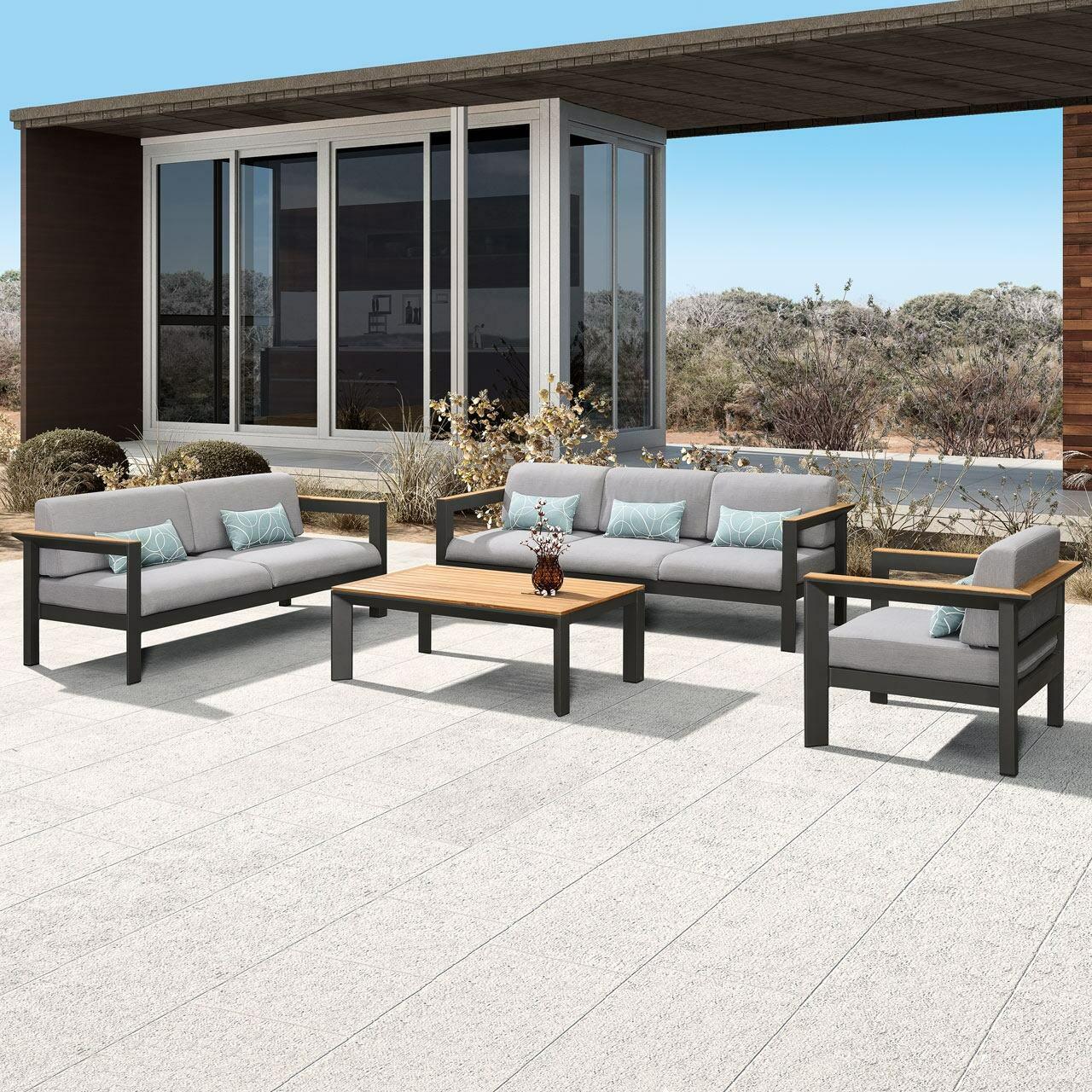 Harrier Luxury Aluminium Garden Sofa & Table Set