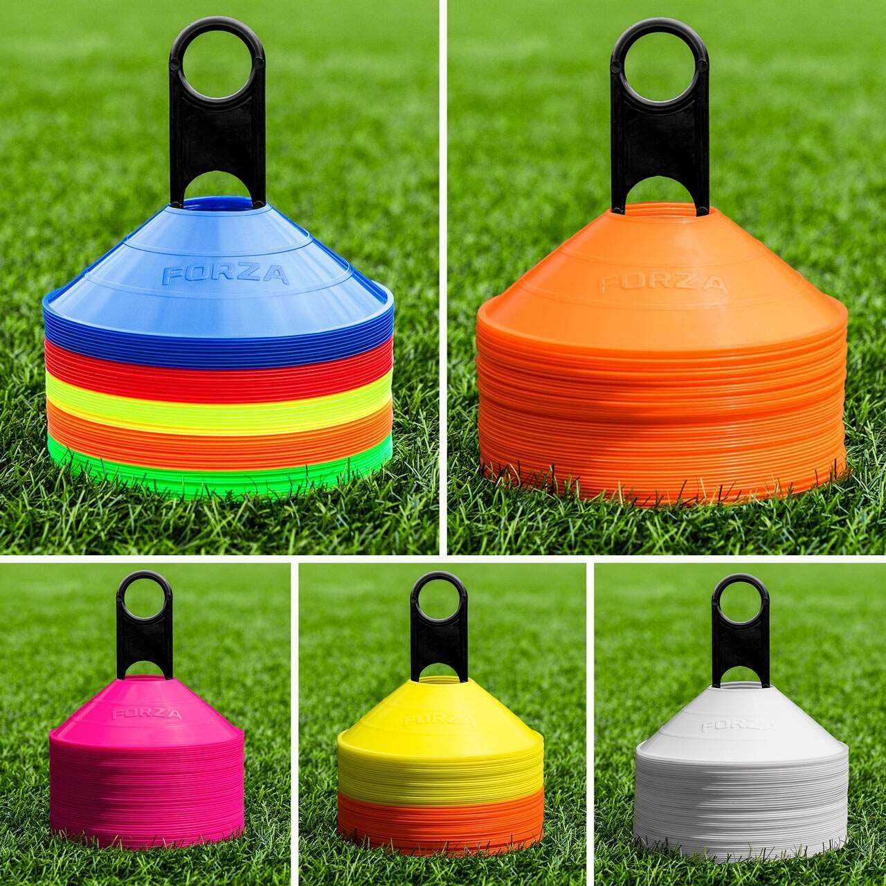 Optimum Set of 50 Multi Sports Space Marker Cones /& Carry Stand Multicolored