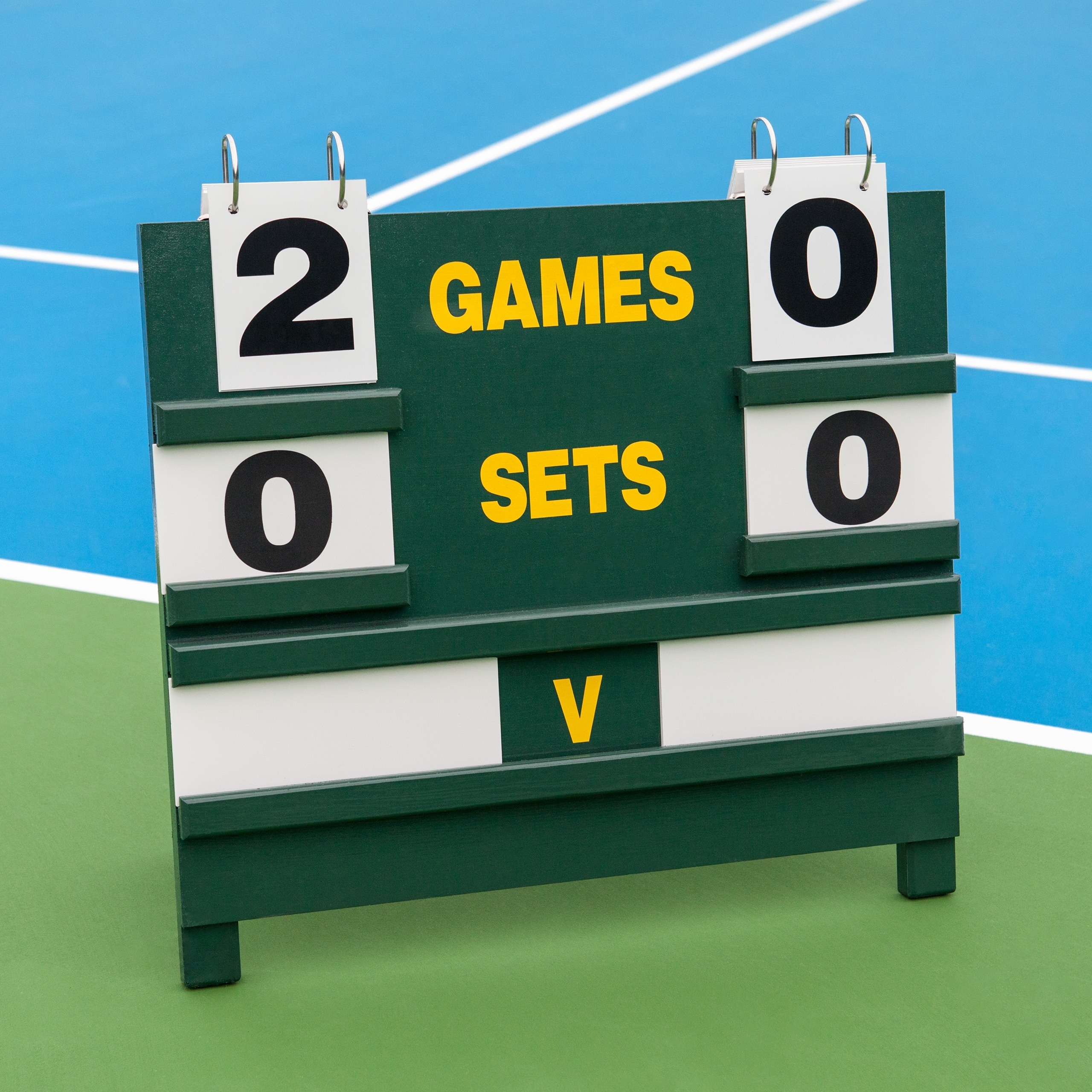 Wooden Tennis Scoreboard Freestanding Net World Sports