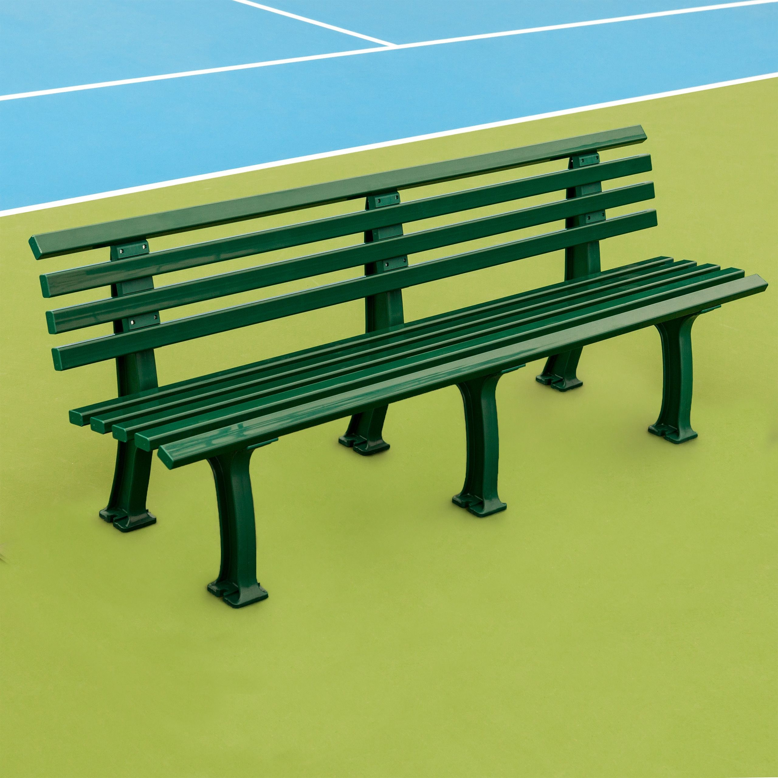 Plastic Courtside Benches (Available in Green or White)
