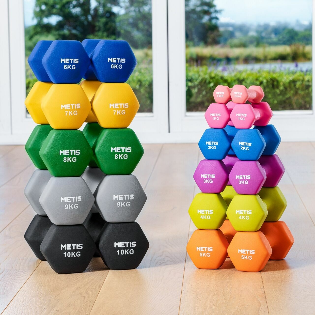 METIS Neoprene Hex Dumbbells [0.5kg-10kg] - Pair