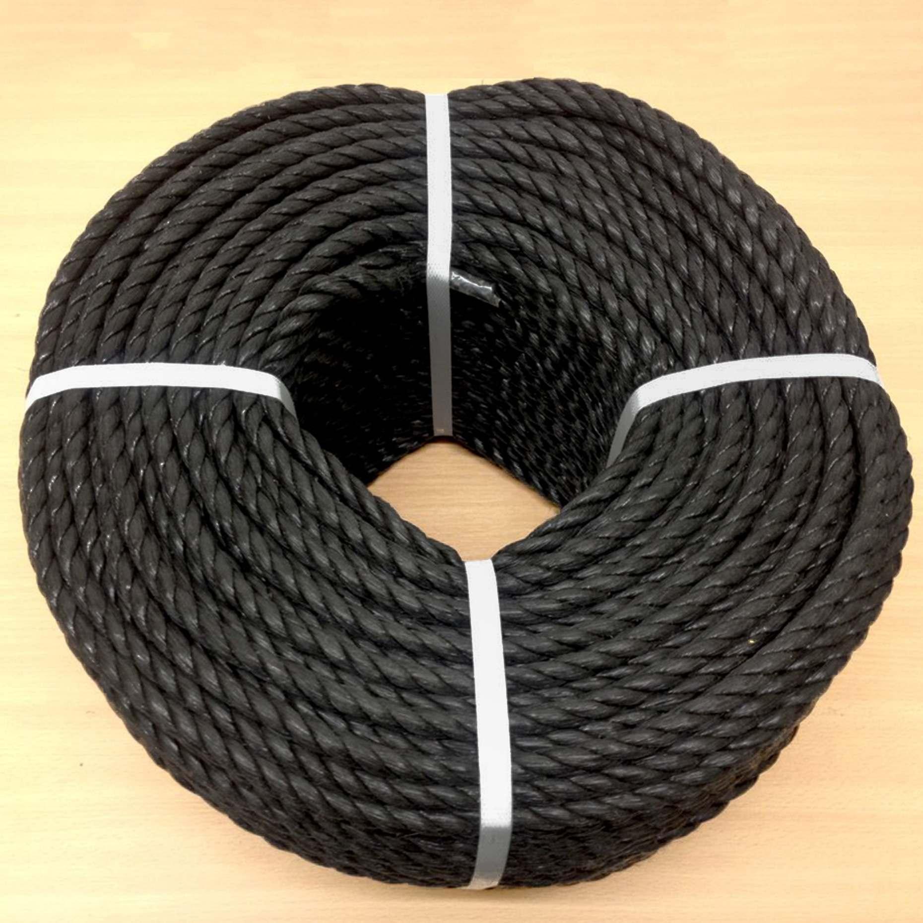 6mm Black Polypropylene Rope - 721ft Coil