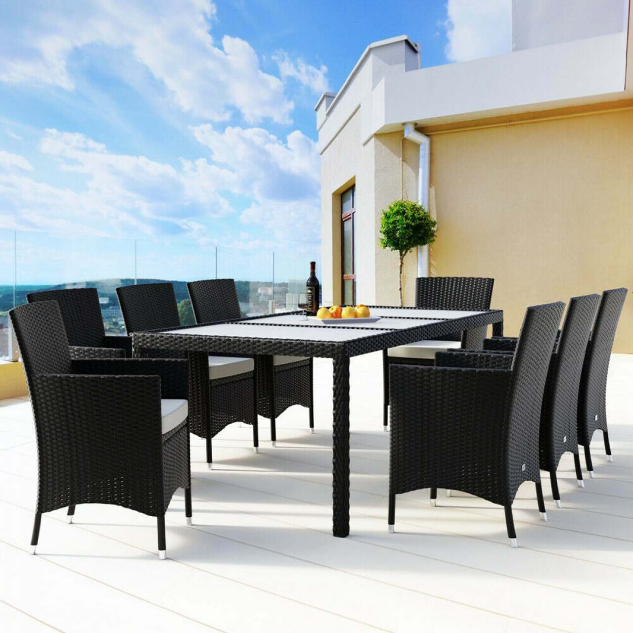 Harrier Rattan Garden Dining Table & Chair Set [6/8 Seater]