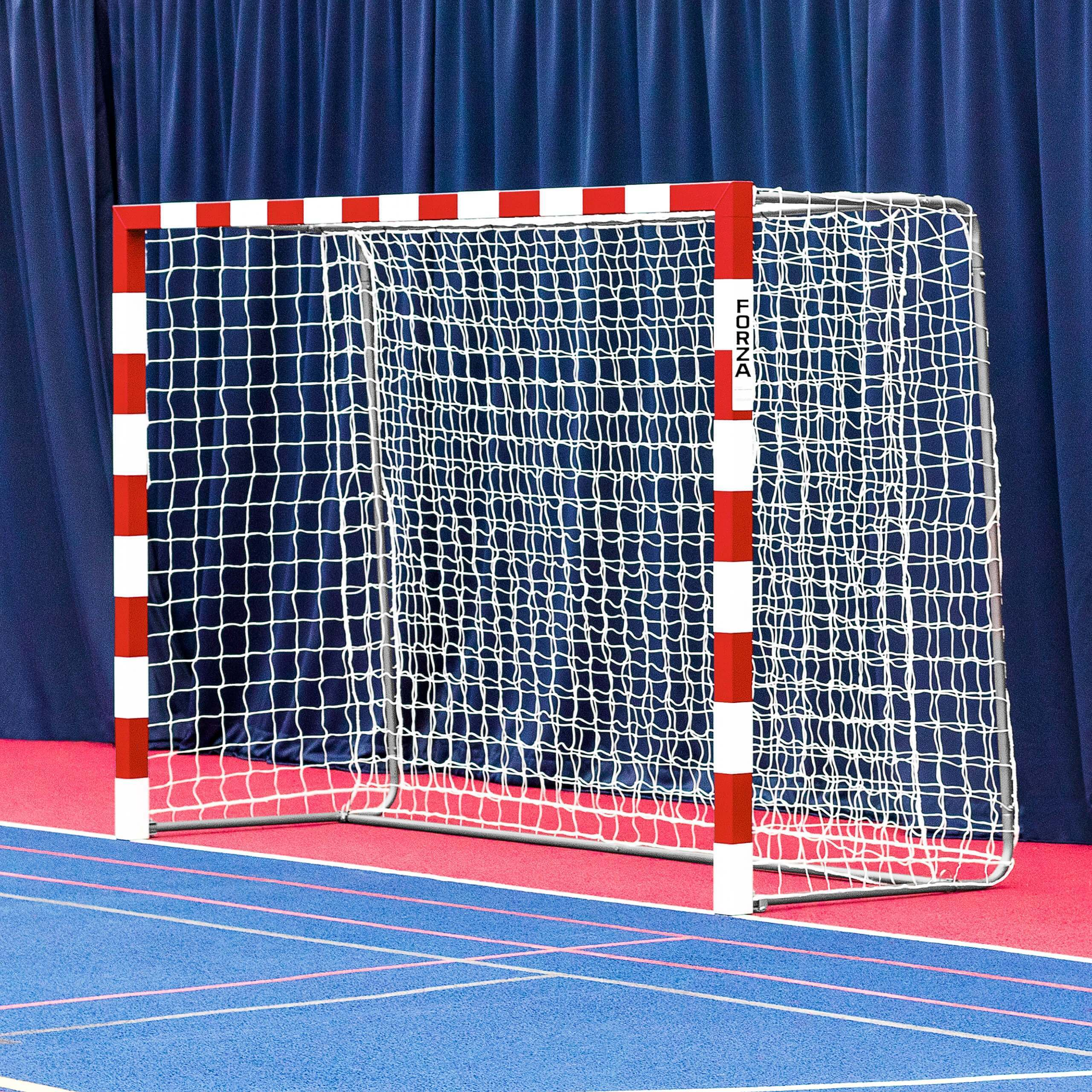 FORZA Alu80 Competition Handball Goals (Foldaway) - Red & White (Pair)