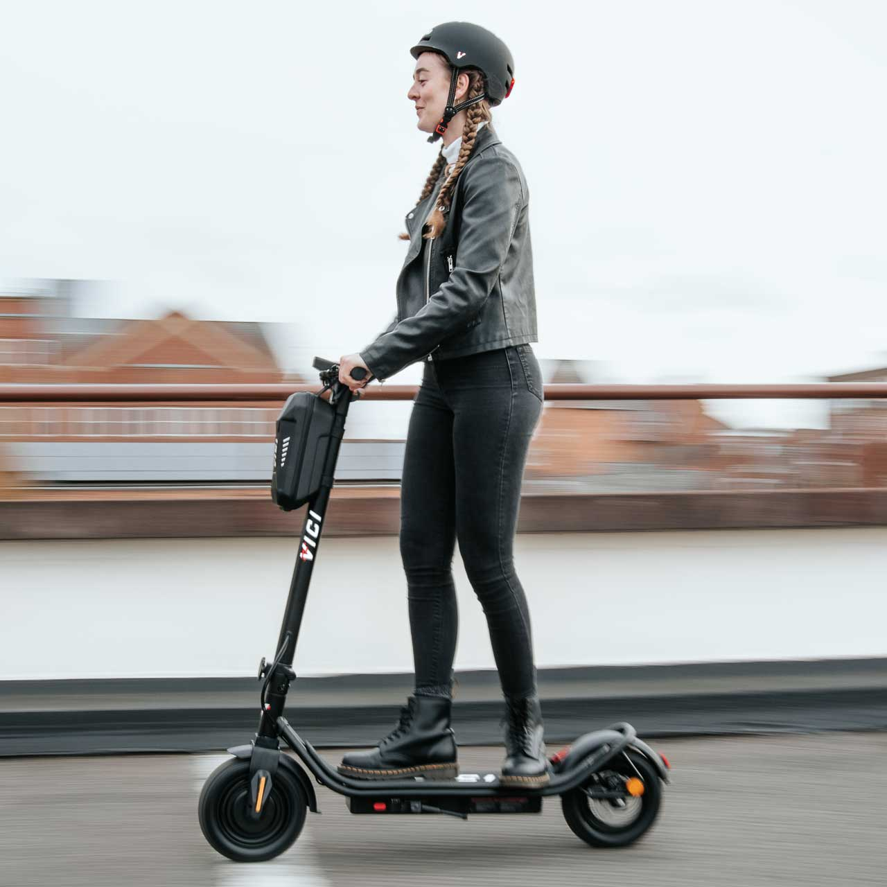 Riding an e-scooter