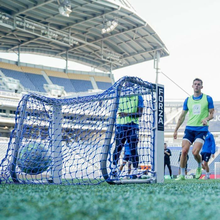 Weatherproof Mini Target Football Goal | Blue Netting For Mini Football Goals