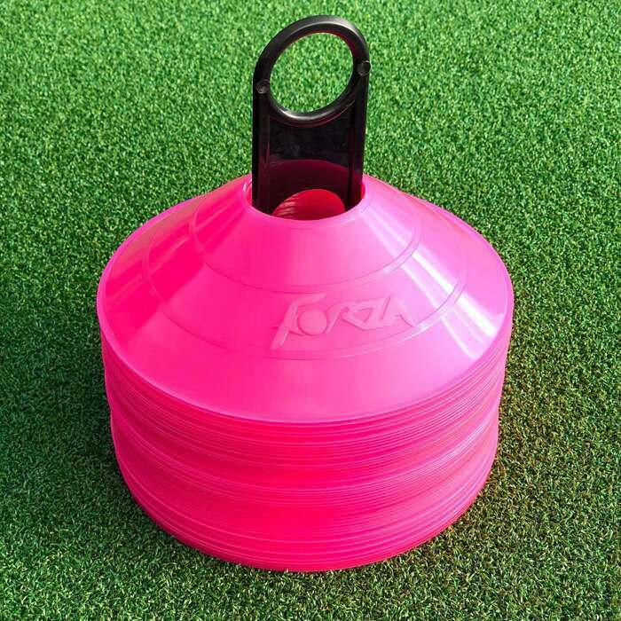Pink training cones for training drills
