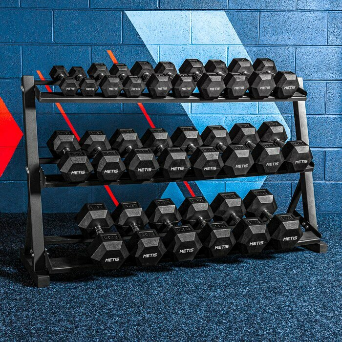 Dumbbell Weights and Rack