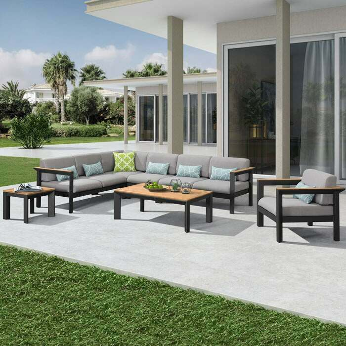Garden Corner Sofa & Table Set | Luxury Garden Furniture Sets
