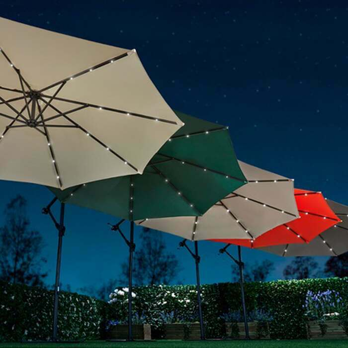 Solar LED Garden Parasols | Harrier Garden Umbrellas