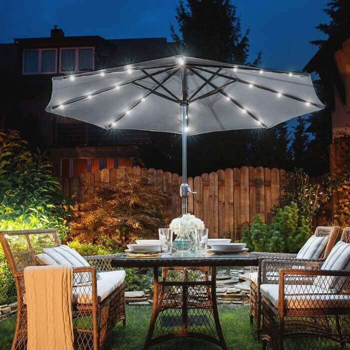 Solar LED Garden Parasols | Harrier Garden Umbrellas