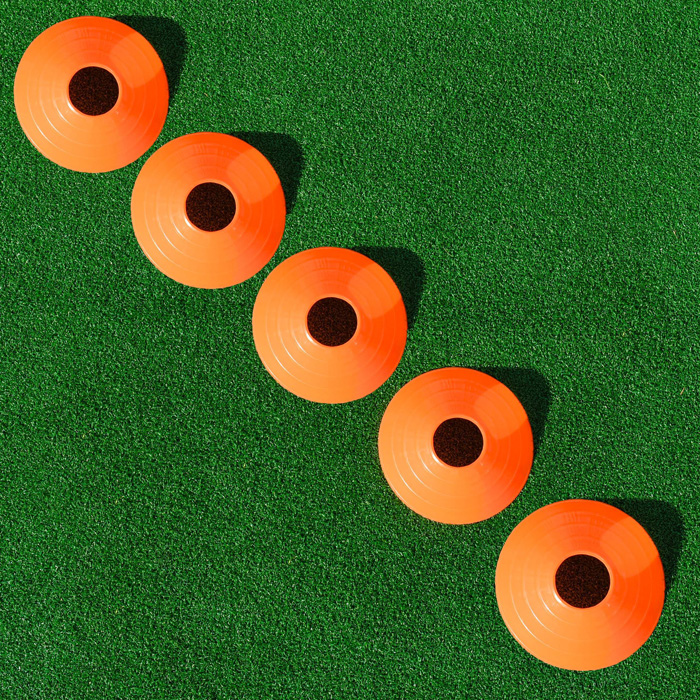 Orange hockey marker cones