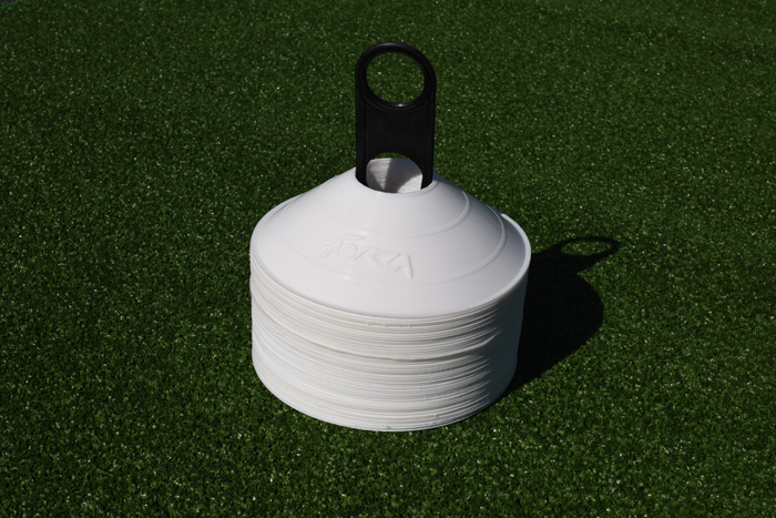 Easily transportable white tennis cones