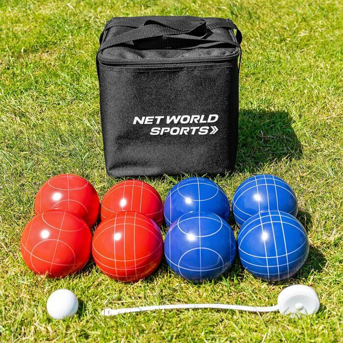 Bocce Ball Set With Poly-Resin Balls & White Pallino
