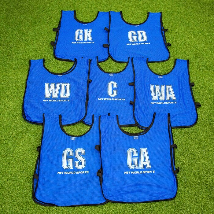 Netball Bibs For All Netball Court Positions | Blue Netball Vests