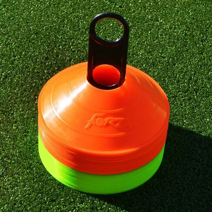 Easily Transportable Orange And Yellow Soccer Cones | Soccer Training Marker Cones With Carry Stand