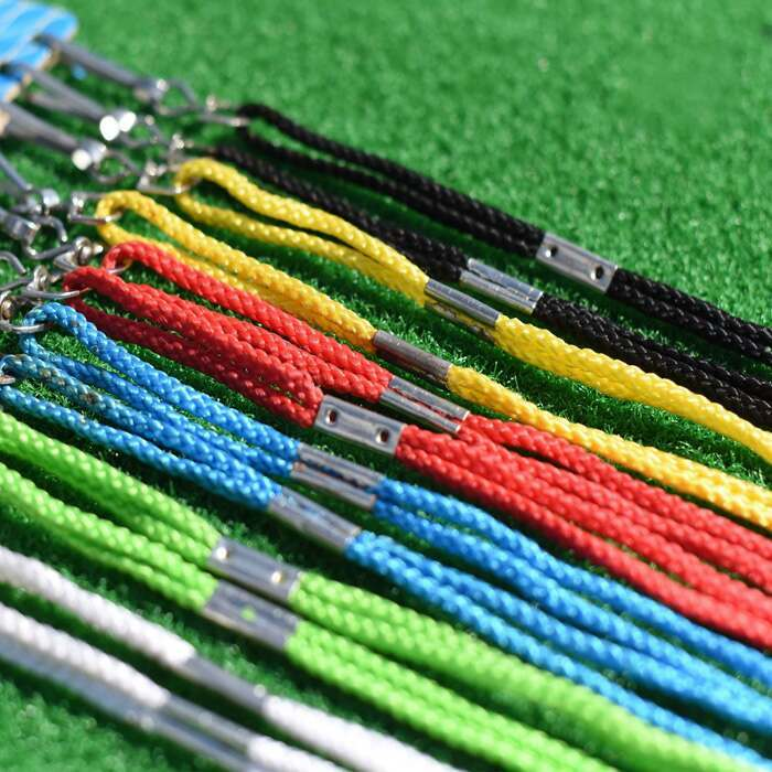 Multi-coloured lanyard and whistle