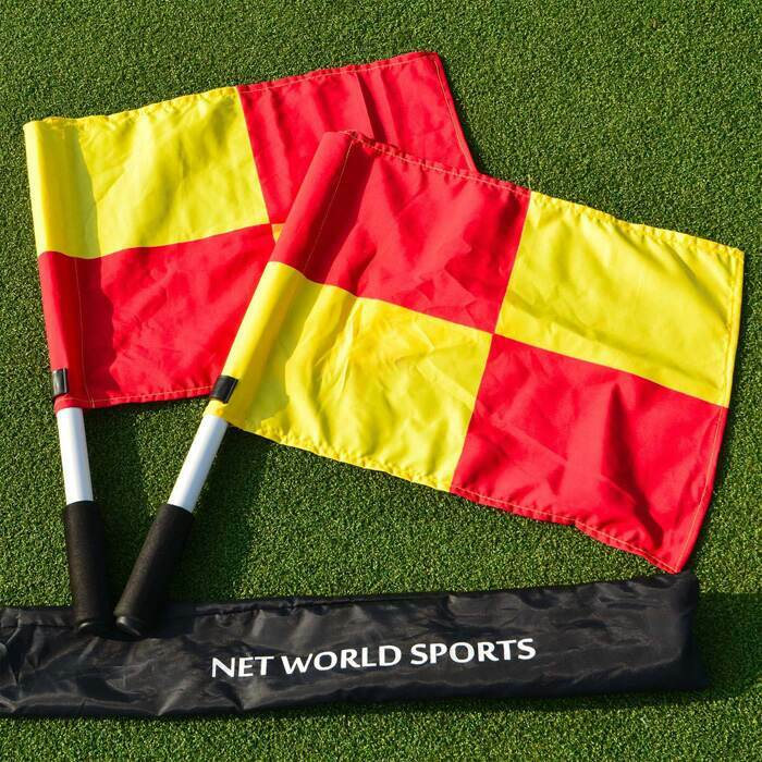 Brightly coloured linesman flags