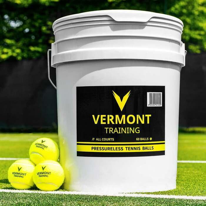 60-Bälle Vermont Training Tennisbälle | Drücklose Tennisbälle