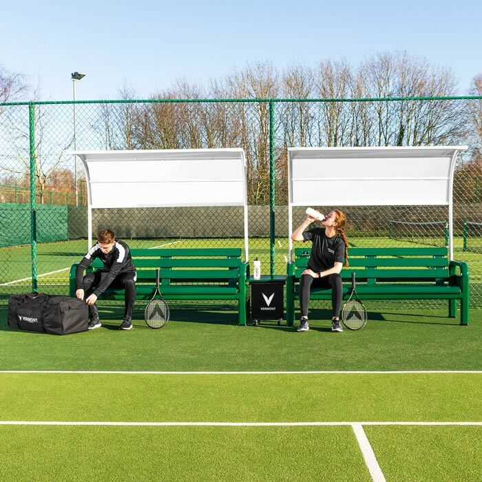Tennis Court Benches With Table & Canopy | Tournament Benches