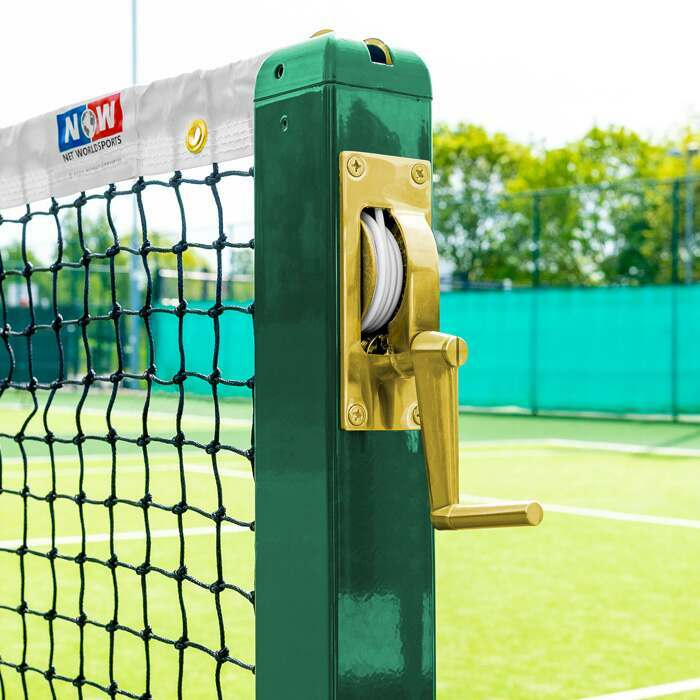 Premium Brass Winder Mechanism | Weatherproof Steel Tennis Posts