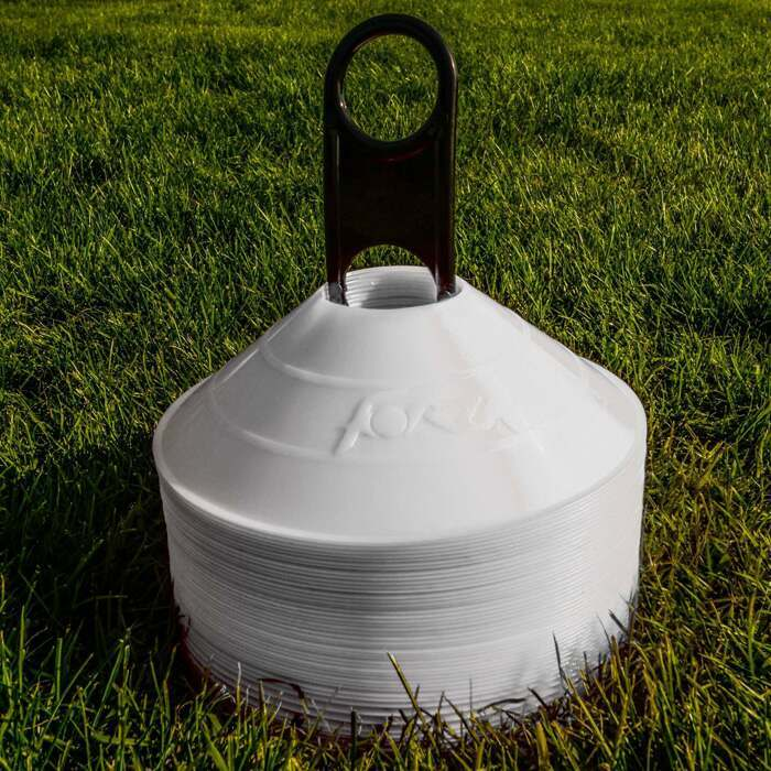 Pack of White Football Marker Cones Comes With Carry Stand Included