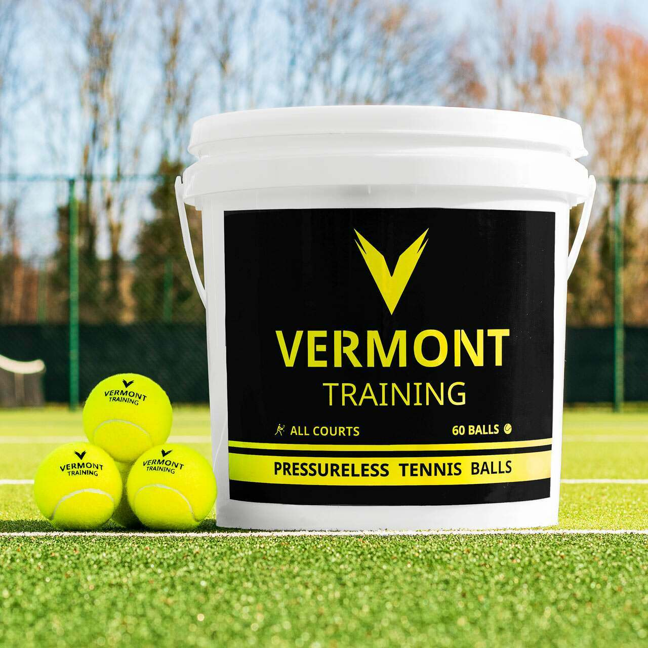 60 Ball Bucket Vermont Training Tennis Balls | Pressureless Tennis Balls