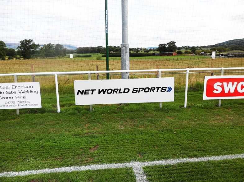 Net World Sports pitch side advertising at Longridge Town FC